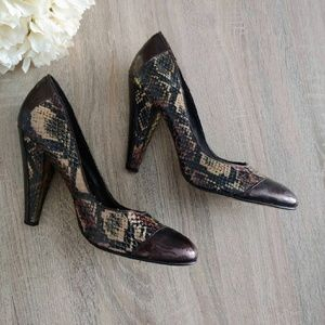 Beverly Feldman Snakeskin Pumps